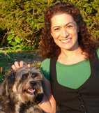 Parvene Farhoody  and her rescue dog Cassidy.